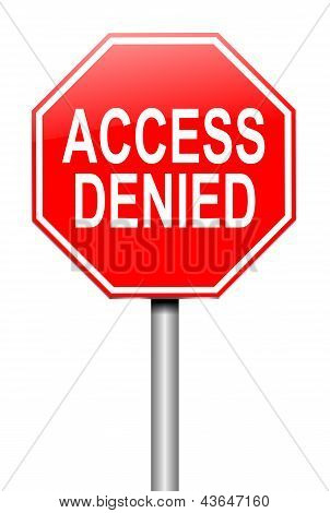 Illustration depicting a sign with an access denied concept. poster