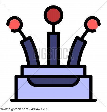 Three Pin Cable Icon. Outline Three Pin Cable Vector Icon Color Flat Isolated