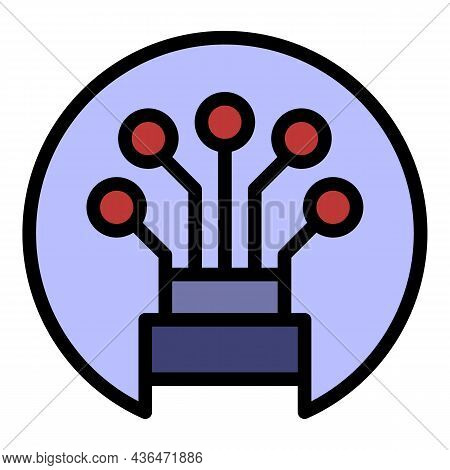 Optical Cable In A Circle Icon. Outline Optical Cable In A Circle Vector Icon Color Flat Isolated
