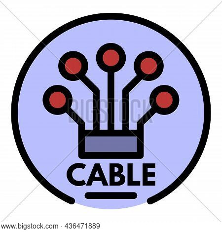 Logo Cable Icon. Outline Logo Cable Vector Icon Color Flat Isolated
