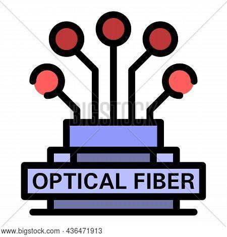 Optical Fiber Logo Icon. Outline Optical Fiber Logo Vector Icon Color Flat Isolated