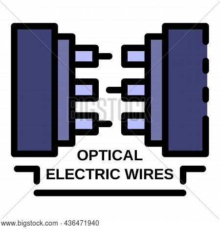 Optical Electric Wires Icon. Outline Optical Electric Wires Vector Icon Color Flat Isolated