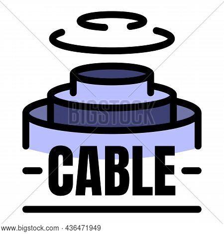 Fiber Optic Cable Structure Icon. Outline Fiber Optic Cable Structure Vector Icon Color Flat Isolate