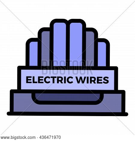 Electric Wires Icon. Outline Electric Wires Vector Icon Color Flat Isolated
