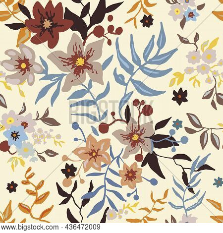 Tropical Floral Pattern. Colorful Graphic Floral Vector Seamless Pattern On Light Background. Styliz