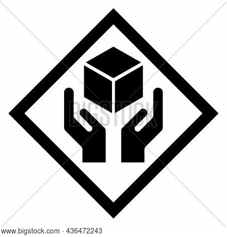 Handle With Care Flat Icon With Black Rhombus Isolated On White Background. Fragile Package Symbol.