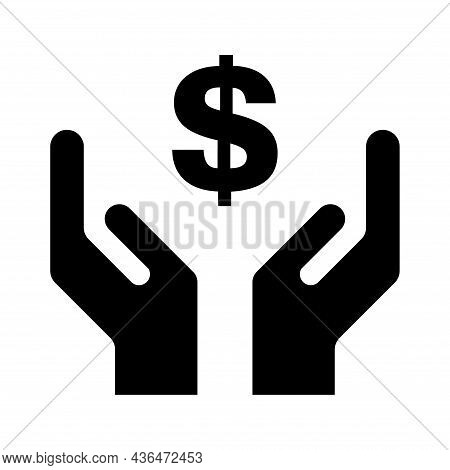 Hope Icon, Human Hand With Dollar Symbol, Help And Protection Graphic Design, Support Vector Illustr