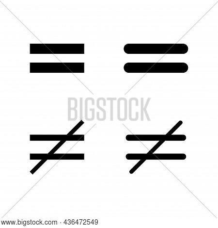 Set Of Divide And Equal Mathematics Symbol, Education Maths Icon, Web Element Vector Illustration De