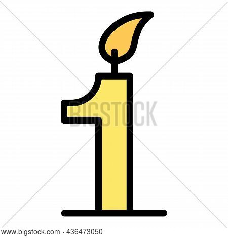 Candle Number One Icon. Outline Candle Number One Vector Icon Color Flat Isolated