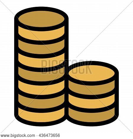 Two Stacks Of Coins Icon. Outline Two Stacks Of Coins Vector Icon Color Flat Isolated