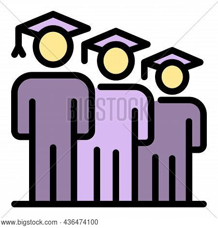 Graduated Student Icon. Outline Graduated Student Vector Icon Color Flat Isolated