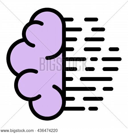Student Brain Think Icon. Outline Student Brain Think Vector Icon Color Flat Isolated
