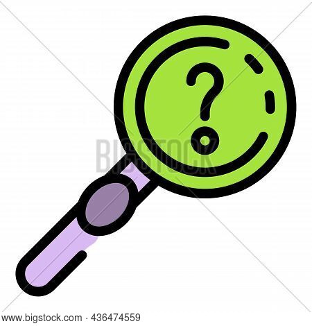 Question Magnifier Icon. Outline Question Magnifier Vector Icon Color Flat Isolated