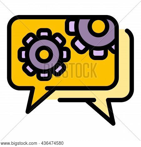 Gear Wheel Chat Icon. Outline Gear Wheel Chat Vector Icon Color Flat Isolated