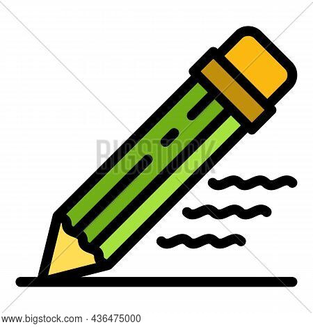 Writing Pencil Icon. Outline Writing Pencil Vector Icon Color Flat Isolated