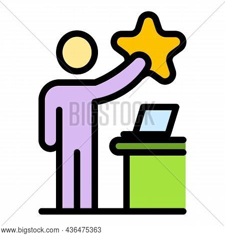 Student Achieve Star Mission Icon. Outline Student Achieve Star Mission Vector Icon Color Flat Isola