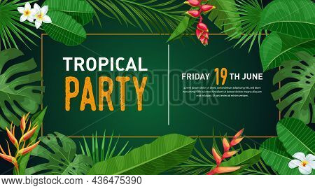 Tropical Banner Design Template. Dark Green Theme With Orange Thin Frame. Palm, Monstera Leaves, Tro
