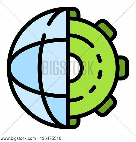 Global Learning Gear Icon. Outline Global Learning Gear Vector Icon Color Flat Isolated