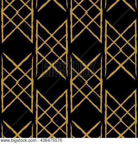 Vector Drawn Yellow Braid Black Seamless Pattern