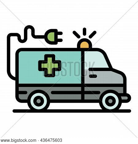 Electric Ambulance Car Icon. Outline Electric Ambulance Car Vector Icon Color Flat Isolated