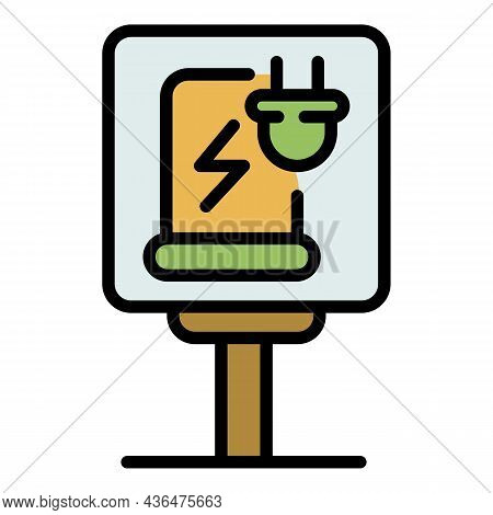 Charging Station Road Sign Icon. Outline Charging Station Road Sign Vector Icon Color Flat Isolated