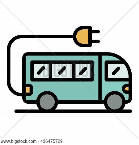 Electric School Bus Icon. Outline Electric School Bus Vector Icon Color Flat Isolated