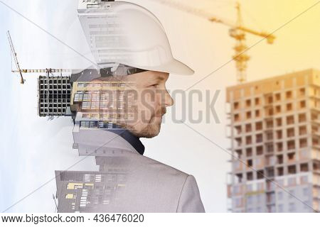 Future Building Construction Engineering Project Concept With Double Exposure Graphic Design. Buildi