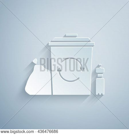 Paper Cut Recycle Bin With Recycle Symbol Icon Isolated On Grey Background. Trash Can Icon. Garbage