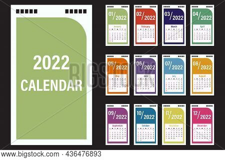 Calendar For 2022, Desktop Calendar Template Design. The Week Starts On Sunday. The Set Is 12 Months