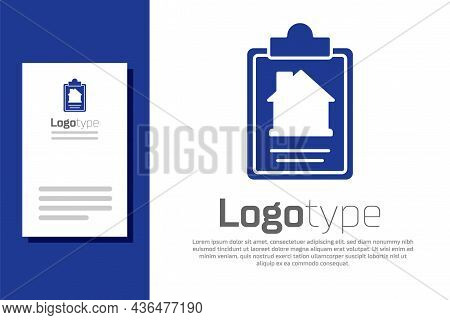 Blue House Contract Icon Isolated On White Background. Contract Creation Service, Document Formation