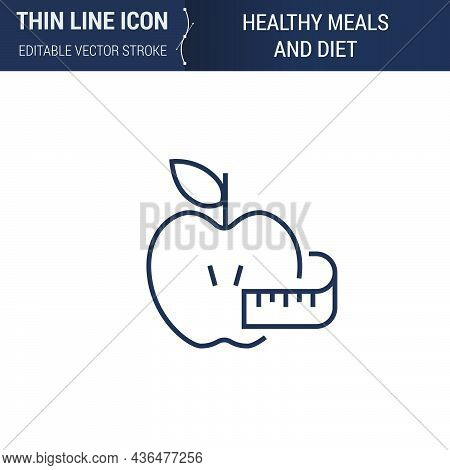Symbol Of Healthy Meals And Diet Thin Line Icon Of Sport And Fitness. Stroke Pictogram Graphic Suita