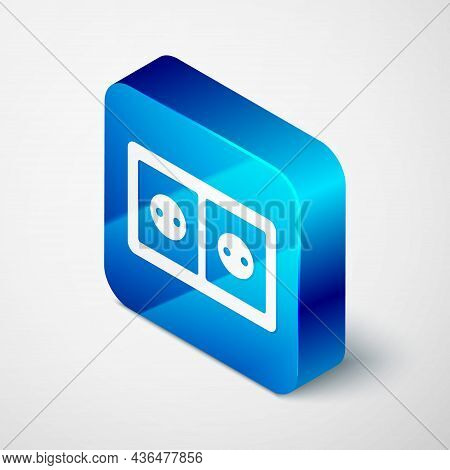 Isometric Electrical Outlet Icon Isolated On Grey Background. Power Socket. Rosette Symbol. Blue Squ