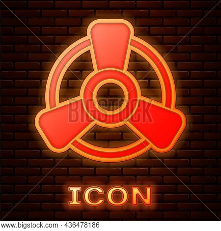 Glowing Neon Car Motor Ventilator Icon Isolated On Brick Wall Background. Vector