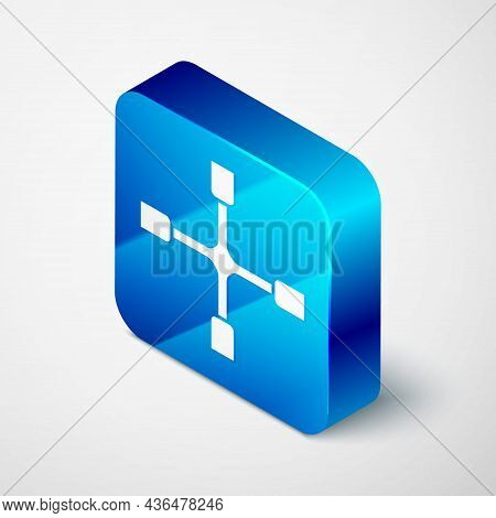 Isometric Wheel Wrench Icon Isolated On Grey Background. Wheel Brace. Blue Square Button. Vector