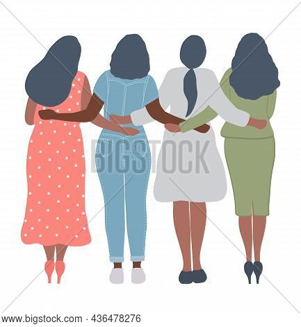 Four Women Are Standing And Hugging. Back View. International Women's Day Concept. Girls Power. Wome
