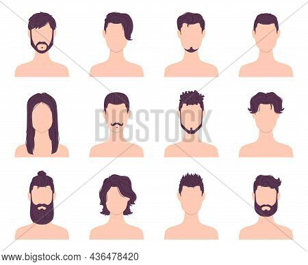 Cartoon Men Avatars Fashion Hairstyles, Mustaches And Beards. Male Modern Short And Long Haircuts. B