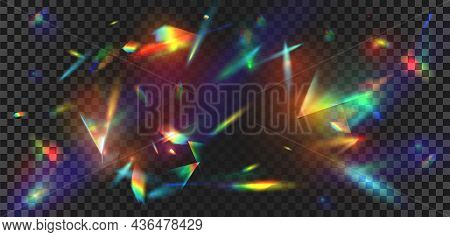 Abstract Prism Light Reflection With Rainbow Flare Background. Crystal Sparkle Burst, Diamond Refrac
