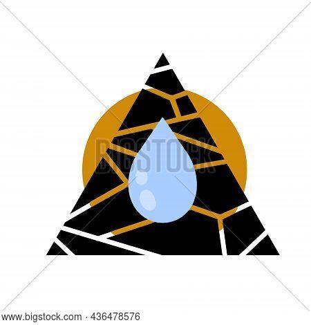 Dryness Icon. Blue Drop Of Water. Moisture And Humidity. Crack In Brown Ground. Broken Triangular Su