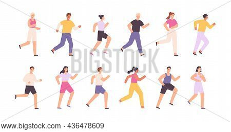 Cartoon Athlete Characters Jogging, Running Marathon Or Race. Runners On Sport Event. Healthy Lifest