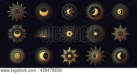 Moon, Sun And Stars, Celestial Boho Line Elements. Chic Golden Mystic Astrology Symbols. Minimalist