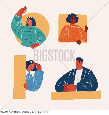 Vector Illustration Of Smiling Persons Faces Appear From Holes Or Windows. Man And Woman Looking Out