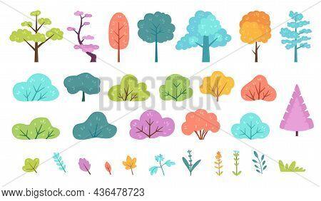 Flat Minimal Bush, Shrub, Tree, Grass, Wild Plant And Flower. Cartoon Forest, Meadow, Park Or Garden