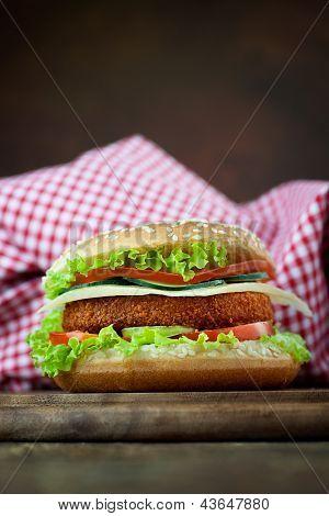 Fried Chicken Or Fish Burger Sandwich