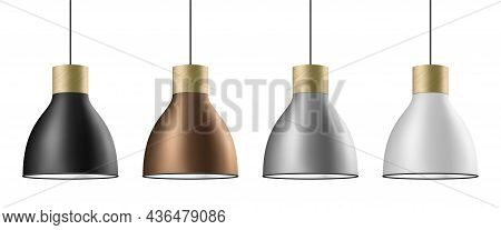 Ceiling Cone Lamp Vector Set In Black, Brass, Silver, And White Colors.