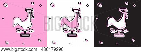Set Rooster Weather Vane Icon Isolated On Pink And White, Black Background. Weathercock Sign. Windva