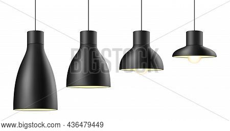 Vector Set Of Matte Black Metal Light Shades In Different Shapes And Sizes.