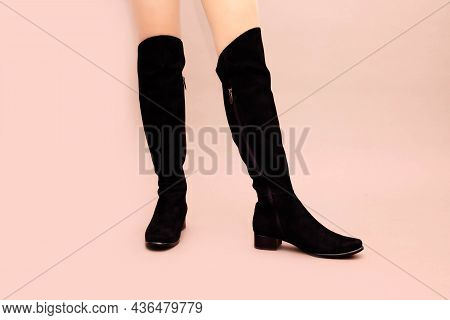 Black Suede Leather High Long Boots Jackboots Without Heels, With Flat Sole And Sexy Caucasian Femal