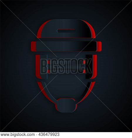 Paper Cut Hockey Helmet Icon Isolated On Black Background. Paper Art Style. Vector