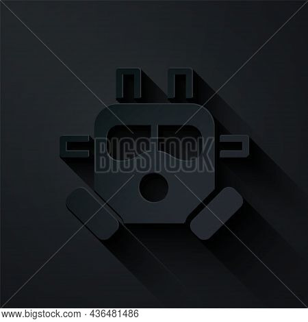 Paper Cut Gas Mask Icon Isolated On Black Background. Respirator Sign. Paper Art Style. Vector