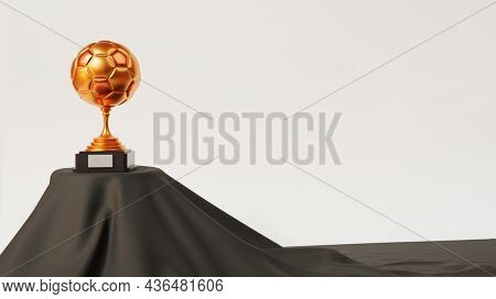 3D Golden Trophy Cup On Black Carpet Over Podium And Copy Space.